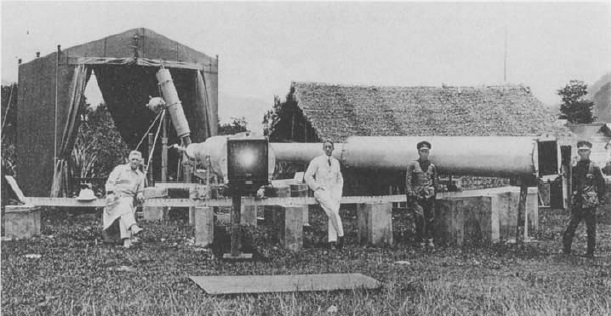 Gambar 3. Ekspedisi Gerhana Matahari Total 1929 di Takengon (Indonesia), yang dipimpin oleh Erwin Freundlich (baju putih, tengah). Radas dalam foto ini adalah kamera horizontal yang digunakan untuk mengukur besarnya pembelokan berkas cahaya bintang akibat melengkungnya ruang-waktu di sekeliling Matahari. Sumber: Hentschel, 1992.