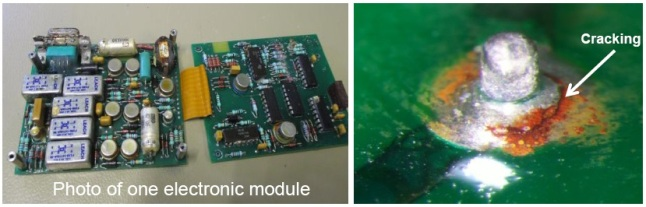 Gambar 6. Modul elektronik komputer FAC yang retak solderannya, baik di kanal A maupun B. Inilah faktor teknis yang paling berkontribusi dalam bencana AirAsia penerbangan QZ8501. Sumber: KNKT, 2015.