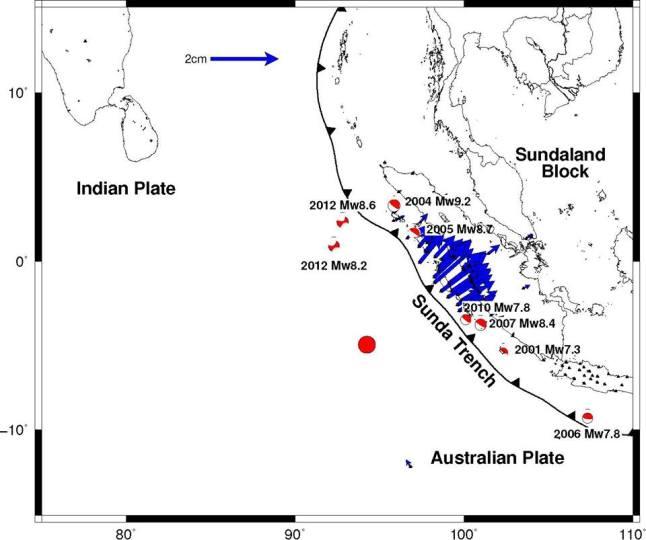 Gambar 2. Model dislokasi kerakbumi di daratan pulau Sumatra sebagai dampak dari Gempa Samudera Indonesia 2 Maret 2016. Diprakirakan pulau Sumatra bergerser 2 cm ke arah timurlaut. Sumber: Meilano, 2016.