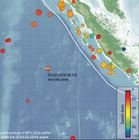 Gambar 1. Posisi sumber Gempa Samudera Indonesia 2 Maret 2016 (ditandai dengan 03-02-2016 M 7.9) terhadap daratan pulau Sumatra beserta koordinat episentrum dari gempa-gempa besar/akbar (magnitudo > 7) dalam radius hingga 1.000 kilometer. daratan terdekat ke sumber gempa ini berjarak tak kurang dari 680 kilometer. Sumber: USGS, 2016.