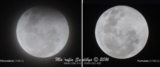 Gambar 1. Bulan dalam puncak Gerhana Bulan Penumbral (kiri) dan purnama biasa (kanan), diabadikan dengan teleskop yang terangkai kamera. Secara kasat mata, penggelapa sebagian wajah Bulan dalam Gerhana Bulan Penumbral sangat sulit untuk diamati. Sumber: Sudibyo, 2014.