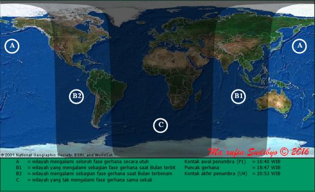 Gambar 2. Peta wilayah Gerhana Bulan Penumbral 23 Maret 2016 untuk lingkup global. Perhatikan bahwa hanya di wilayah A dan B (baik B1 maupun B2) saja Gerhana Bulan ini bisa dilihat, sepanjang langit tak berawan. Sumber: Sudibyo, 2016.
