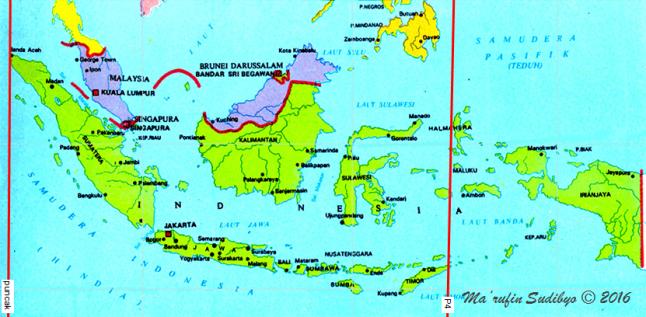 Gambar 3. Peta wilayah Gerhana Bulan Penumbral 23 Maret 2016 untuk Indonesia. Garis P1 adalah garis yang menghubungkan titik-titik dimana kontak awal penumbra terjadi tepat pada saat Bulan terbit. Sementara garis puncak menghubungkan titik-titik yang mengalami puncak gerhana tepat pada saat Bulan terbit. Seluruh Indonesia mampu menyaksikan peristiwa Gerhana Bulan ini, sepanjang langit tak berawan. Sumber: Sudibyo, 2016.
