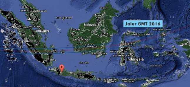 Gambar 5. Prakiraan curah hujan (resolusi 5 kilometer) di Indonesia pada 23 Maret 2016 TU pukul 18:00 WIB berdasarkan analisis kanal SADEWA di LAPAN. Semakin gelap maka semakin deras hujan yang diprakirakan bakal turun. Nampak hujan diprakirakan bakal terjadi di hampir segenap pulau Sumatra dan sebagian pulau Jawa (kecuali Jawa bagian tengah). Sumber: LAPAN, 2016.