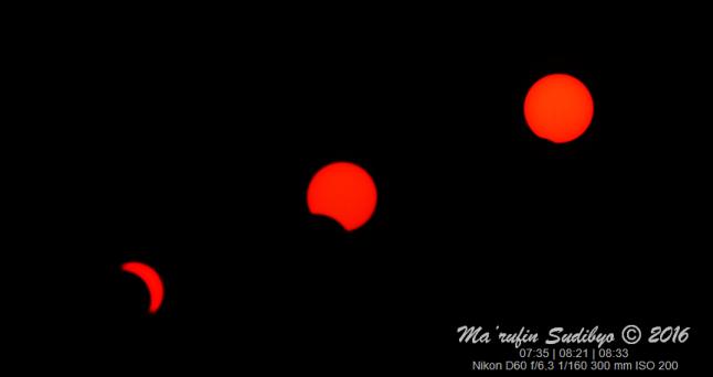 Gambar 1. Matahari dalam berbagai waktu yang berbeda sepanjang durasi Gerhana Matahari Total 9 Maret 2016, yang nampak di Kebumen sebagai gerhana sebagian. Sumber: Sudibyo, 2016.