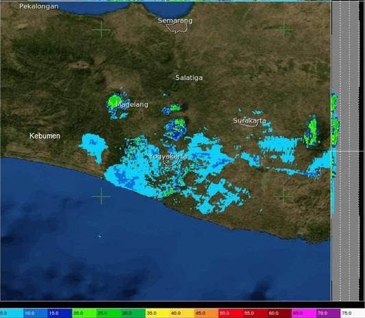 Gambar 3. Citra radar cuaca dari stasiun geofisika BMKG Yogyakarta untuk 9 Maret 2016 TU pukul 07:00 WIB. Nampak segenap Kabupaten kebumen bebas dari tutupan awan maupun kabut. Sumber: BMKG, 2016.