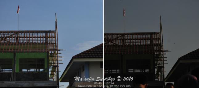 Gambar 6. Dua citra yang diambil lewat kamera dengan setting yang sama dan lokasi yang sama namun pada jam yang berbeda dengan jelas menunjukkan bagaimana perubahan dramatis pencahayaan Matahari selama gerhana. Kiri: 20 menit sebelum puncak gerhana. Kanan: tepat saat puncak gerhana. Sumber: Sudibyo, 2016.