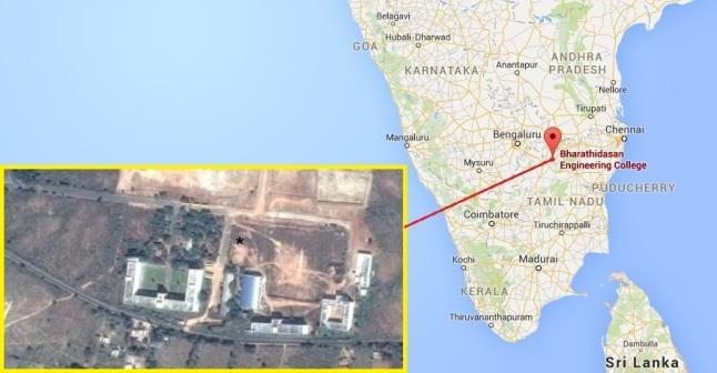 Gambar 1. Lokasi kampus Bharatidasan Engineering College di Vellore, negara bagian Tamil Nadu (India) beserta citra satelitnya. Tanda bintang (*) adalah prakiraan lokasi terbentuknya lubang aneh yang diduga produk tumbukan benda langit. Sumber: Google Maps, 2016.