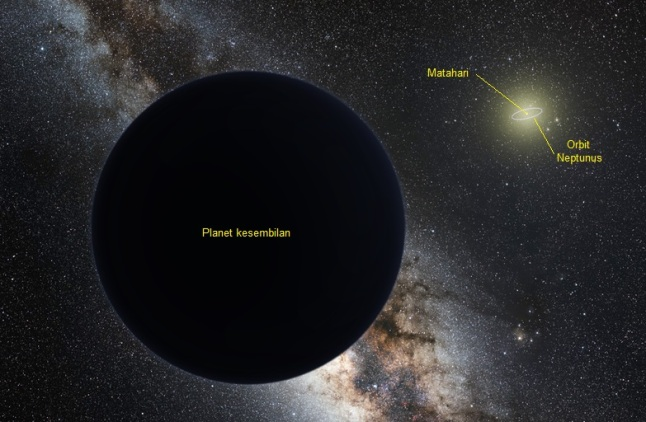 Gambar 1. Ilustrasi Planet Kesembilan di pinggiran tata surya dengan Matahari yang cukup redup nampak di kejauhan (kanan atas), 'dikelilingi' orbit Neptunus. Planet Kesembilan digambarkan sebagai raksasa gas yang mirip Neptunus, namun dengan dimensi dan massa lebih kecil. Sumber: Tomruen & Nagual Design, 2016.