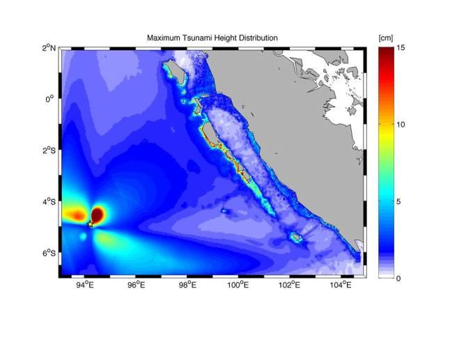 Gambar 3. Simulasi distribusi tinggi maksimum tsunami sebagai akibat Gempa Samudera Indonesia 2 Maret 2016. Nampak tinggi tsunami di Kepulauan mentawai berkisar antara 10 hingga 15 cm. Sumber: Gusman, 2016.