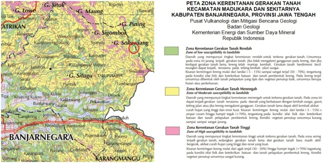 Gambar 5. Peta zona kerentanan gerakan tanah sebagian Kabupaten Banjarnegara khususnya kecamatan Madukara dan sekitarnya. Lokasi bencana longsor Clapar ditandai dengan lingkaran merah. Area bencana terletak di zona rentan menengah (untuk lereng bagian atas) dan zona rentan rendah (untuk lereng bagian bawah). Sumber: PVMBG, 2014.