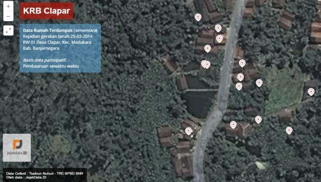 Gambar 7. Distribusi rumah-rumah yang mengalami kerusakan dalam aneka tingkatan pada bencana longsor Clapar, hingga Sabtu 26 Maret 2016 TU. Sumber: JejakData.id, 2016.