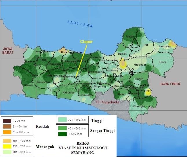 Gambar 9. Akumulasi curah hujan di propinsi Jawa Tengah sepanjang Februari 2016 TU. Nampak lokasi bencana longsor Clap[ar berada di kawasan yang mengalami curah hujan akumulatif tinggi, yakni antara 301 hingga 400 milimeter dalam bulan itu. Sumber: BMKG, 2016.