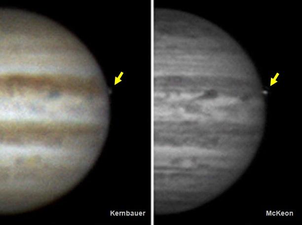 Gambar 2. Kelipan cahaya dari tumbukan 17 Maret 2016 di Jupiter dalam citra yang diekstrak dari rekaman observasi Gerrit Kernbauer (Austria) dan John McKeon (Irlandia) pada saat yang sama. Kedua citra telah menjalani pemrosesan citra yang cukup hati-hati untuk meningkatkan kualitasnya. Sumber: Sky & Telescope, 2016.