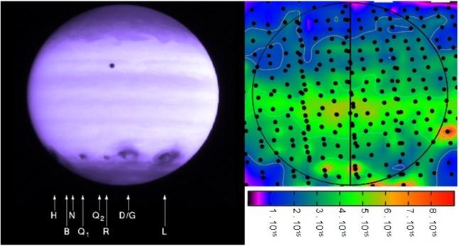 Gambar 5. Jejak tumbukan komet Shoemaker-Levy 9 di Jupiter. Kiri: bercak-bercak hitam jejak tumbukan sejumlah kepingan inti komet (dilabeli dengan huruf-huruf tertentu) di hemisfer selatan Jupiter. Diabadikan teleskop antariksa Hubble dalam spektrum sinar ultraungu (panjang gelombang 2.550 Angstrom) pada 21 Juli 1994 TU. Kanan: distribusi kerapatan molekul air (per sentimeter persegi) di Jupiter pada 2009 TU, diabadikan dengan teleskop antariksa Herschel. Nampak konsentrasi molekul air di hemisfer selatan Jupiter, jejak yang masih tersisa dari peristiwa tumbukan dahsyat 15 tahun sebelumnya. Sumber: NASA, 1994 & ESA, 2009.