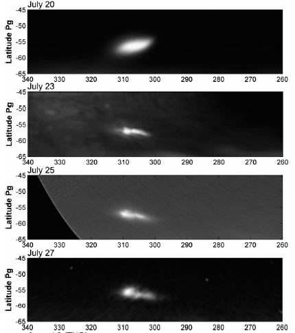 Gambar 6. Dinamisnya bercak hitam jejak Tumbukan Wesley dalam 10 hari pertama, diabadikan teleskop IRTF NASA di Hawaii (Amerika Serikat) dan teleskop Carlos Sanchez di Canary (Spanyol) secara terpisah pada spektrum sinar inframerah dekat. Nampak perubahan bentuk bercak dari hari ke hari yang disebabkan oleh sirkulasi dalam atmosfer Jupiter. Sumber: Sanchez-Lavega dkk, 2011.