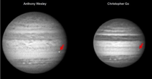 Gambar 7. Kelipan cahaya dari tumbukan 4 Juni 2010 di Jupiter dalam citra yang diekstrak dari rekaman observasi Anthony Wesley (Australia) dan Christopher Go (Filipina) pada saat yang sama. Kedua citra telah menjalani pemrosesan citra untuk meningkatkan kualitasnya. Sumber: Hueso dkk, 2013.