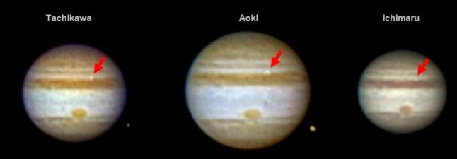 Gambar 8. Kelipan cahaya dari tumbukan 21 Agustus 2010 di Jupiter dalam citra yang diekstrak dari rekaman observasi Masayuki Takichawa, Kazuo Aoki dan Masayuki Ichimaru (ketiganya dari Jepang). Ketiga citra telah menjalani pemrosesan citra untuk meningkatkan kualitasnya. Benda langit kecil di sisi kanan bawah citra Takichawa dan Aoki adalah Ganymede, satelit alamiah terbesar Jupiter. Sumber: Hueso dkk, 2013.