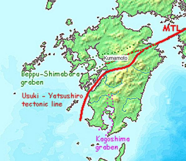 Gambar 3. Rona rupabumi pulau Kyushu (Jepang). nampak sesar besar Median Tectonic Line (MTL) melintas dari timur laut (kiri atas) untuk kemudian meliuk ke selatan sebagai sesar Usuki-Yatsushiro tectonic line. Salah satu cabang sesar MTL nampak melintas lurus melewati kota Kumamoto dan sekitarnya, yang berdiri di atas graben (lembah patahan) Beppu-Shimabara. Sesar cabang inilah yang bertanggungjawab atas Gempa Kumamoto 2016. Sumber: Earthoffire, 2014.