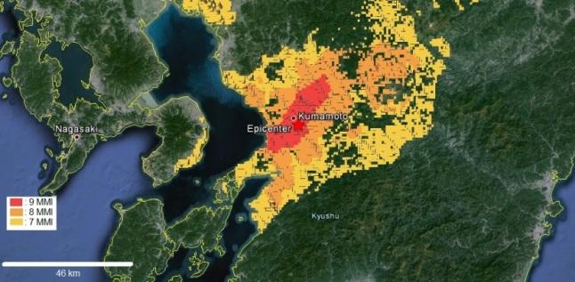 Gambar 5. Kawasan yang mengalami getaran sangat kuat dengan intensitas mulai dari intensitas getaran 7 MMI hingga 9 MMI dalam Gempa Kumamoto 2016. Nampak hampir seluruh kota Kumamoto tercakup ke dalam kawasan dengan getaran hingga 9 MMI. Sumber: USGS, 2016.