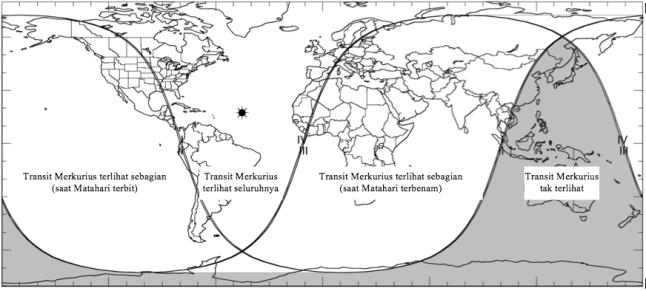 Gambar 4. Peta wilayah Transit Merkurius 2016 dalam lingkup global. Wilayah transit ditandai dengan warna putih. Angka-angka I, II, III dan IV menunjukkan garis kontak I, kontak II, kontak III dan kontak IV. Sumber: Espenak, 2016.