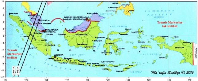 Gambar 5. Peta wilayah Transit Merkurius 2016 dalam lingkup Indonesia. Wilayah transit terletak di sebelah barat garis kontak I, yakni meliputi sebagian pulau Sumatra dan pulau-pulau kecil disekelilingnya. Sumber: Sudibyo, 2016.