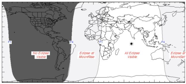 Gambar 2. Peta wilayah Gerhana Bulan Penumbral 16-17 September 2016 dalam lingkup global. Perhatikan Indonesia dibelah oleh garis P4 di sisi timur, yakni garis dimana akhir gerhana bertepatan dengan terbenamnya Bulan (terbitnya Matahari). Dengan demikian seluruh Indonesia berkesempatan menyaksikan Gerhana Bulan yang samar ini, sepanjang langit cerah. Sumber: NASA, 2016.