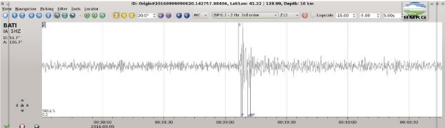 Gambar 1. Getaran seismik produk ujicoba nuklir Korea Utara 9 September 2016 TU seperti yang terekam dari stasiun Baumata, Nusa Tenggara Timur (BATI). BMKG menyimpulkan getaran seismik ini memiliki magnitudo 5,3 dengan kedalaman sumber hanya 1 km. Sumber: BMKG, 2016.
