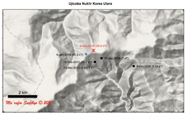 Gambar 3. Lokasi ujicoba nuklir Korea Utara terbaru dalam tanda bintang (*) warna merah, bersama dengan titik-titik lokasi ujicoba nuklir sebelumnya di medan percobaan nuklir Punggye-ri, kawasan Pegunungan Sungjibaegam (Korea Utara). Terlihat juga lokasi ujicoba nuklir yang dianggap gagal dan tidak dipublikasikan secara formal, yakni ujicoba 12 Mei 2010 TU (tanda segitiga). Sumber: Sudibyo, 2016 dengan basis Google Maps dan Zhang & Wen, 2014.