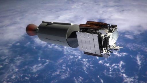 Gambar 11. Gambaran artis upperstage Falcon 9 Full Thrust saat mendorong muatan satelit komunikasinya. Berbeda dengan lowerstagenya, upperstage Falcon 9 Full Thrust hanya sekali pakai untuk kemudian dibuang. Sumber: SpaceX, 2016.