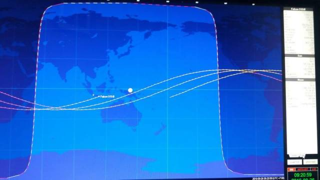 Gambar 2. Peta proyeksi lintasan roket bekas bernomor 41730 di paras Bumi pada Senin 26 September 2016 TU dari LAPAN. Titik terakhir tepat berada di atas pulau Madura pada pukul 09:21 WIB. Sumber: Djamaluddin, 2016.