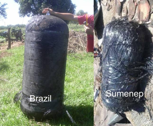 Gambar 5. Perbandingan antara benda takbiasa yang jatuh di Sumenep (kanan) dengan yang jatuh di Brazil beberapa waktu lalu (kiri). Tabung di Brazil sudah dipastikan sebagai tabung bahan bakar/pengoksid upperstage roket Falcon 9. Nampak jelas kemiripan keduanya. Sumber: Firmanda, 2016.