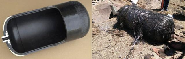 Gambar 4. Perbandingan bentuk dan struktur salah satu tabung COPV yang digunakan badan antariksa Amerika Serikat/NASA (kiri) dengan reruntuhan tabung yang ditemukan dalam peristiwa Sumenep. Sumber: NASA, 2011.