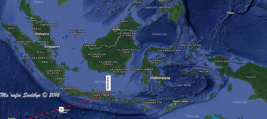 Gambar 5. Proyeksi lintasan terakhir sampah antariksa 41730 di paras Bumi. Titik X berada di utara pulau Natal (Australia), yang berjarak 950 km sebelah barat daya Kabupaten Sumenep, Madura (Indonesia). Sumber; Sudibyo, 2016 dengan data JSpOC.