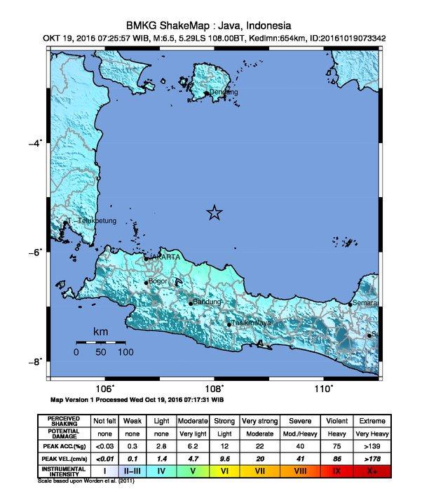 Gambar 2. Peta intensitas getaran Gempa Laut Jawa 2016. Nampak sekujur pulau Jawa merasakan getaran 3 hingga 4 MMI. Sumber : BMKG, 2016.