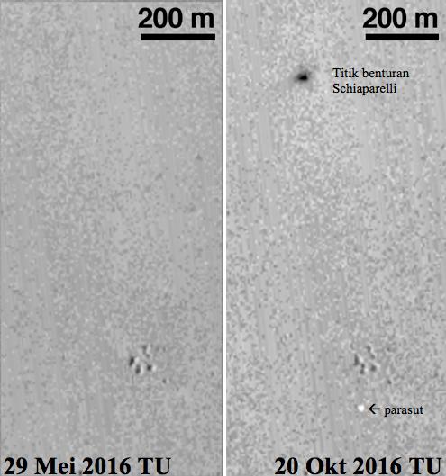 Gambar 4. Dua citra satelit MRO beresolusi rendah untuk kawasan di sekitar koordinat 2,07 LS 6,21 BB di Mars yang diambil dalam dua kesempatan berbeda. Nampak bahwa dalam citra 20 Oktober 2016 TU  terdeteksi adanya bintik hitam dan bintik putih yang aneh, fitur yang tak ada dalam citra 29 Mei 2016 TU. Bintik-bintik tersebut merupakan jejak yang ditinggalkan dari proses pendaratan brutal Schiaparelli. Sumber: NASA, 2016.