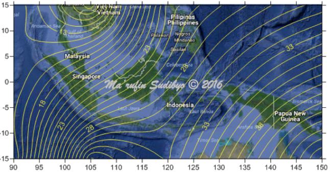 Gambar 12. Garis-garis yang menunjukkan besarnya penyimpangan arah dari arah kiblat yang sebenarnya (dalam satuan derajat) akibat model Bumi datar bagi area penelitian. Nilai terkecil adalah +14° yang terjadi di Banda Aceh (propinsi Aceh), ujung barat Indonesia. Nampak bahwa semakin ke Indonesia timur, penyimpangan arahnya kian besar. Sumber: Sudibyo, 2016.