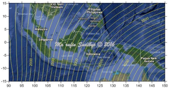 Gambar 13. Garis-garis yang menunjukkan besarnya jarak pergeseran dari Ka'bah (dalam satuan kilometer) akibat model Bumi datar bagi area penelitian. Nilai terkecil adalah +1.800 kilometer di Sabang (propinsi Aceh), ujung barat Indonesia. Nampak bahwa semakin ke Indonesia timur, jarak pergeserannya pun kian membengkak. Sumber: Sudibyo, 2016.
