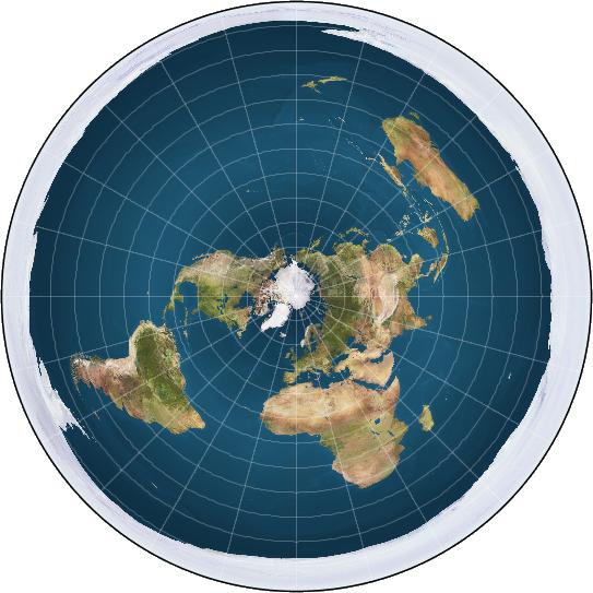 Gambar 2. Peta Bumi datar modern. Sejatinya ini adalah peta Bumi dalam proyeksi azimuthal sama-jarak (equidistant), namun oleh pemuja model Bumi datar dibajak dan diklaim sebagai gambaran sesungguhnya tentang Bumi. Perhatikan bahwa bentuk peta ini hampir sama persis dengan Peta Ferguson 1893, hanya saja pemuja model Bumi datar modern diam-diam menghilangkan bentuk persegi panjang di luar lingkaran. Sumber: Anonim, 2016.