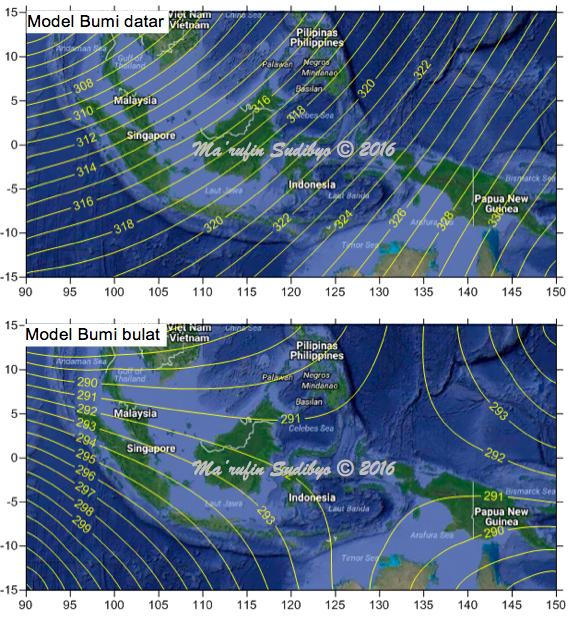 Gambar 8. Perbandingan garis-garis isokiblat untuk area penelitian antara model Bumi datar (atas) dan model Bumi bulat (bawah). Perhatikan kedua model menghasilkan garis-garis isokiblat dengan orientasi yang sangat berbeda. Perbedaan tersebut menjadi indikasi bahwa arah kiblat dalam model Bumi datar memiliki perbedaan dengan arah kiblat dalam model Bumi bulat. Sumber: Sudibyo, 2016.