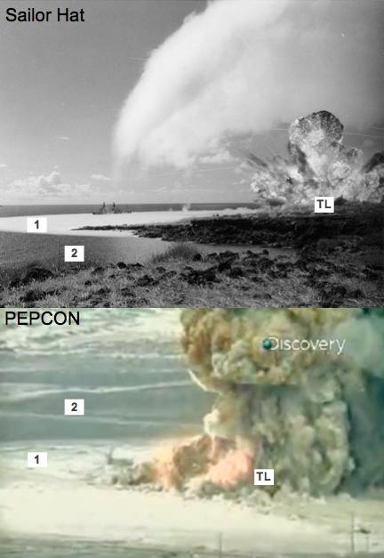 Gambar 4. Contoh dampak gelombang kejut pada medium dari dua peristiwa berbeda, yakni ujicoba detonasi 500 kilogram TNT Angkatan Laut AS dalam Operation Sailor Hat 1965 di pulau Kahoolawe, Hawaii (AS) dan bencana industrial terbakarnya pabrik amonium perklorat PEPCON di Nevada (AS) pada 4 Mei 1988 TU yang menghasilkan peristiwa mirip-ledakan dengan energi 1 kiloton TNT. TL = titik ledak, 1 = medium (air atau tanah) yang tepat dilintasi gelombang kejut, 3 = medium yang belum terlintasi gelombang kejut. Perhatikan perubahan fisis pada medium sebelum dan saat terlintasi gelombang kejut. Sumber: AL AS, 1965 & Discovery Channel, 2010.