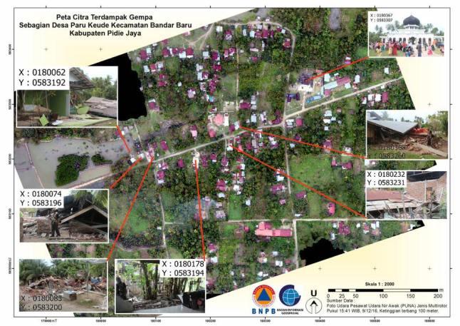 Gambar 4. Salah satu desa yang terkena dampak Gempa Pidie Jaya 2016, yakni desa Paru Keude kec. Bandar Baru kab. Pidie Jaya. Distribusi kerusakan bangunan telah dipetakan dengan pesawat udara nir awak (PUNA/drone) hasil kerjasama BIG, BNPB dan sejumlah lembaga. Sumber: BIG/Hasanudin Z Abidin, 2016