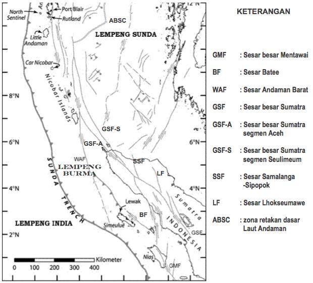 Gambar 8. Peta struktur ujung utara pulau Sumatra yang kompleks, sebagai hasil interaksi nan rumit antara lempeng India, lempeng Sunda dan lempeng mikro Burma. Interaksi ini menyebabkan terbentuknya sejumlah sesar aktif di daratan, yang bakal menjai sumber gempa potensial mendatang. Sumber: Natawidjaja, 2006.