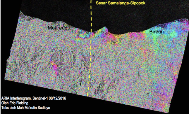 Gambar 9. Citra pendahuluan interferometri radar (inSAR) Gempa Pidie Jaya 2016 dari satelit Sentinel-1A dan Sentinel-1B lewat radas ARIA automatic interferogram. Meski resolusi citranya jelek karena koherensinya sangat rendah (sehingga pola-pola interferensinya tidak terlalu jelas), namun terkesan bahwa deformasi terbesar akibat gempa ini berada di sekitar lintasan sesar Samalanga-Sipopok di dekat kota Meureudu. Sumber: Fielding, 2016.