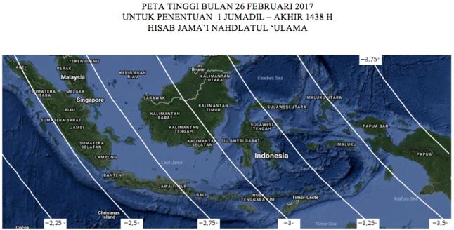 Peta tinggi Bulan untuk penentuan 1 Jumadil Akhir 1438 H pada 26 Februari 2017 TU.