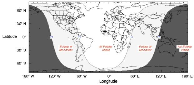 Gambar 2. Peta wilayah Gerhana Bulan Penumbral 11 Februari 2017 dalam lingkup global. Perhatikan Indonesia dibelah oleh garis P1 , yakni garis dimana awal gerhana bertepatan dengan terbenamnya Bulan (terbitnya Matahari). Dengan demikian hanya sebagian Indonesia berkesempatan menyaksikan Gerhana Bulan yang samar ini, sepanjang langit cerah. Sumber: NASA, 2016.
