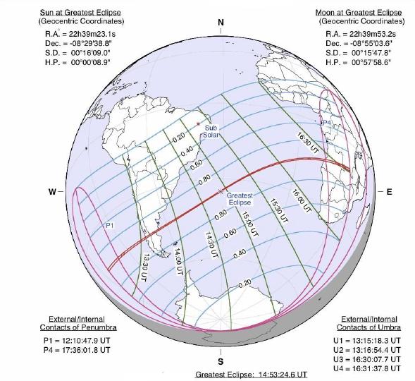 Peta wilayah Gerhana Matahari Cincin 26 Februari 2016 TU