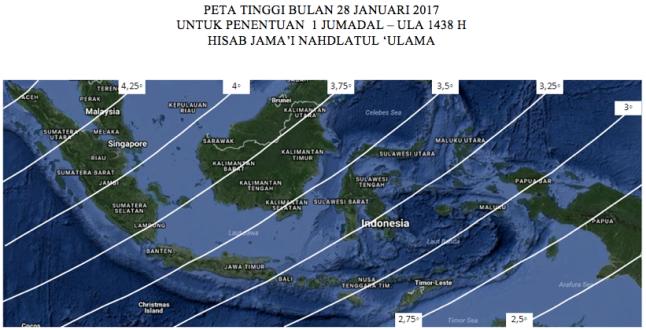Peta tinggi Bulan untuk penentuan 1 Jumadal Ula 1438 H pada 28 Januari 2017 TU.