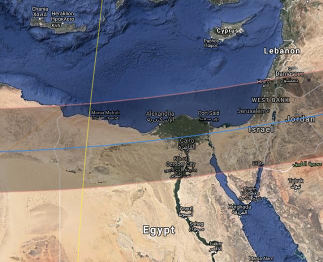 Gambar 4. Peta zona antumbra dalam wilayah Gerhana Matahari Cincin 30 Oktober 1207 STU. Nampak zona antumbra (lebar 360 kilometer) melintasi kota Yerusalem dan lingkungan sekitarnya, termasuk lokasi pertempuran al-Jib (Gibeon). Atas dasar inilah tim cendekiawan Universitas Ben Gurion menyimpulkan bahwa Pertempuran al-Jib terjadi pada tanggal itu. Sumber: Xavier Jubier, 2017 dengan basis NASA, 2006.
