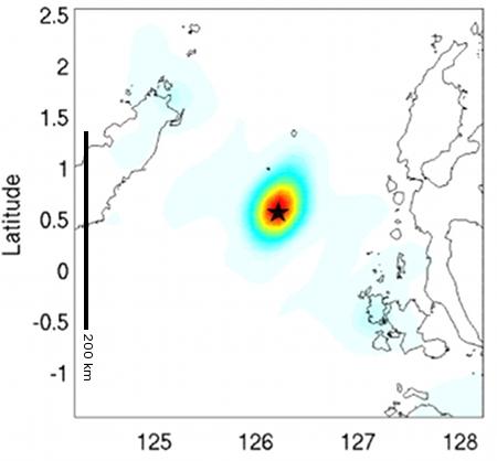 Gambar 2. Sumber Gempa Laut Maluku 2019 berdasarkan analisis seismik cepat IRIS (Incorporated Research Institutions for Seismology). Panjang sumber gempa sekitar 40 km dengan lebar separuhnya. Sumber: IRIS, 2019.